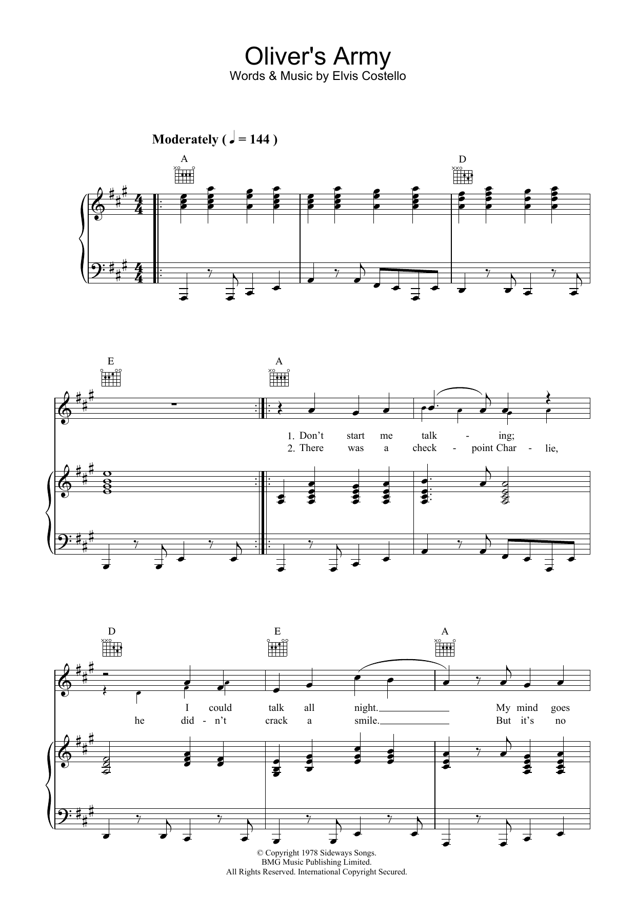 Elvis Costello Oliver's Army sheet music preview music notes and score for Lyrics & Chords including 2 page(s)
