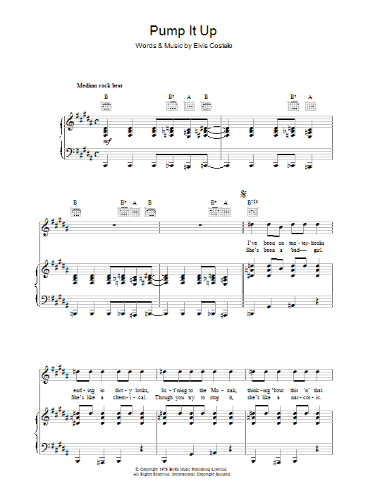 Elvis Costello Pump It Up sheet music preview music notes and score for Drums Transcription including 1 page(s)