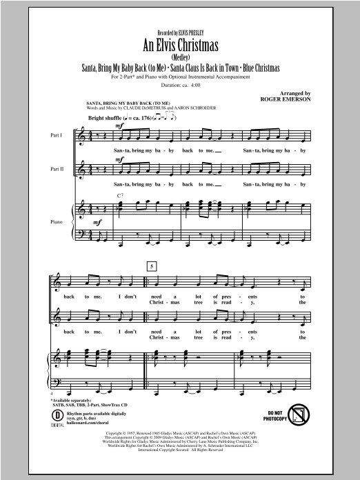 Download Elvis Presley 'An Elvis Christmas (arr. Roger Emerson)' Digital Sheet Music Notes & Chords and start playing in minutes