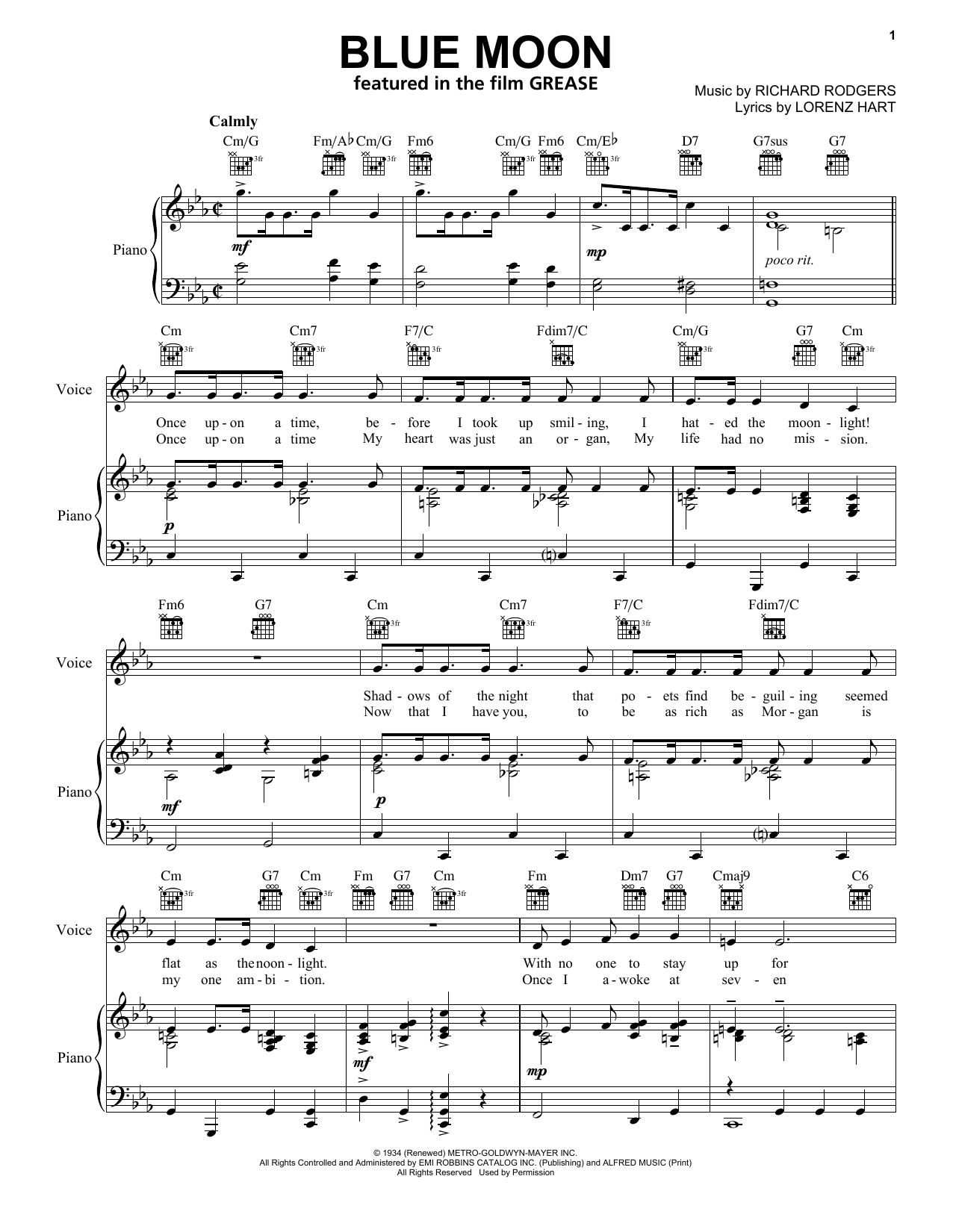 Elvis Presley Blue Moon sheet music notes and chords