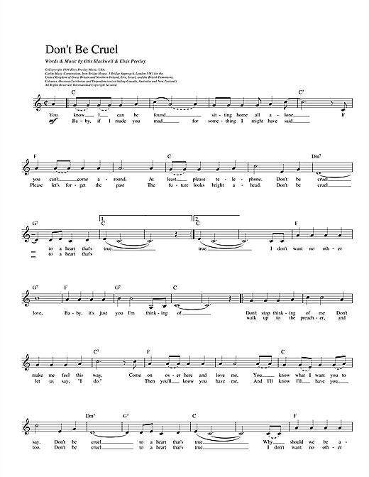 Elvis Presley Don't Be Cruel sheet music preview music notes and score for Melody Line, Lyrics & Chords including 2 page(s)