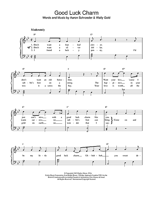 Download Elvis Presley 'Good Luck Charm' Digital Sheet Music Notes & Chords and start playing in minutes