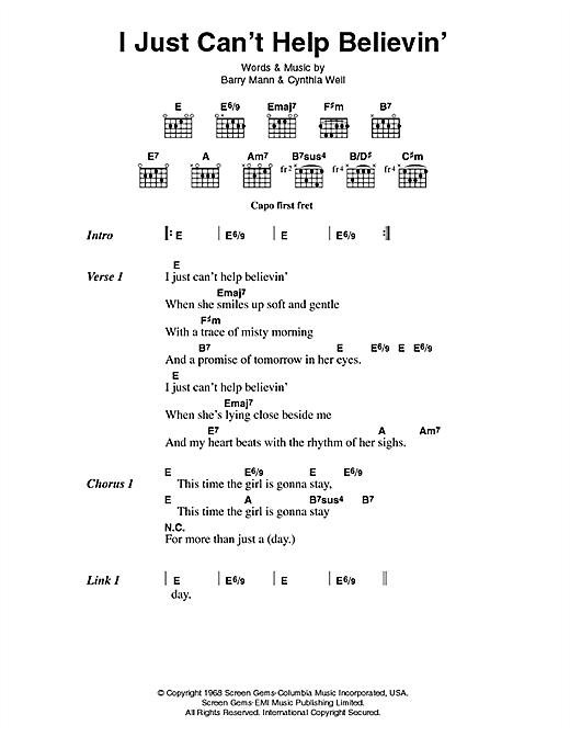 Elvis Presley I Just Can't Help Believin' sheet music preview music notes and score for Piano, Vocal & Guitar (Right-Hand Melody) including 3 page(s)