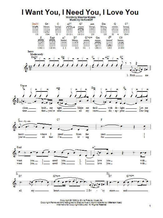 Elvis Presley I Want You, I Need You, I Love You sheet music notes and chords