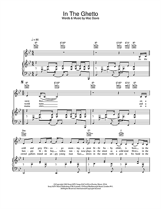 Elvis Presley In The Ghetto sheet music notes and chords