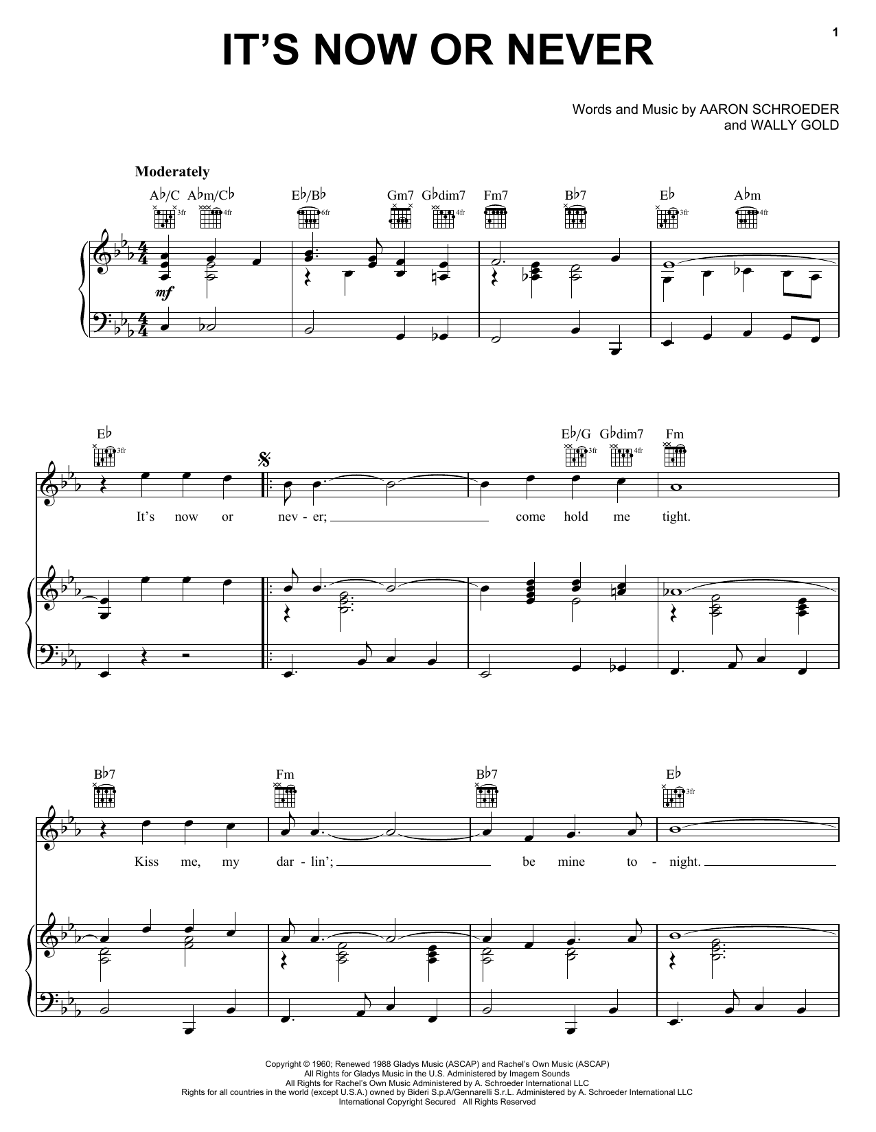 Elvis Presley It's Now Or Never sheet music notes and chords