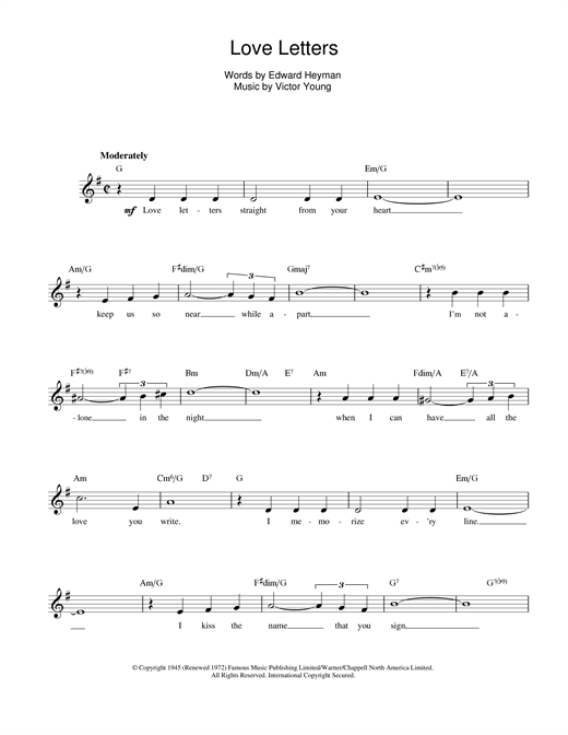 Download Elvis Presley 'Love Letters' Digital Sheet Music Notes & Chords and start playing in minutes