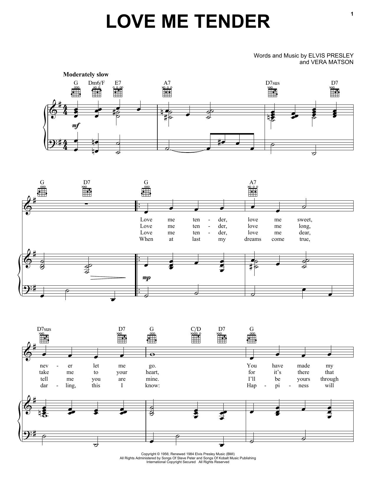 Elvis Presley Love Me Tender sheet music notes and chords