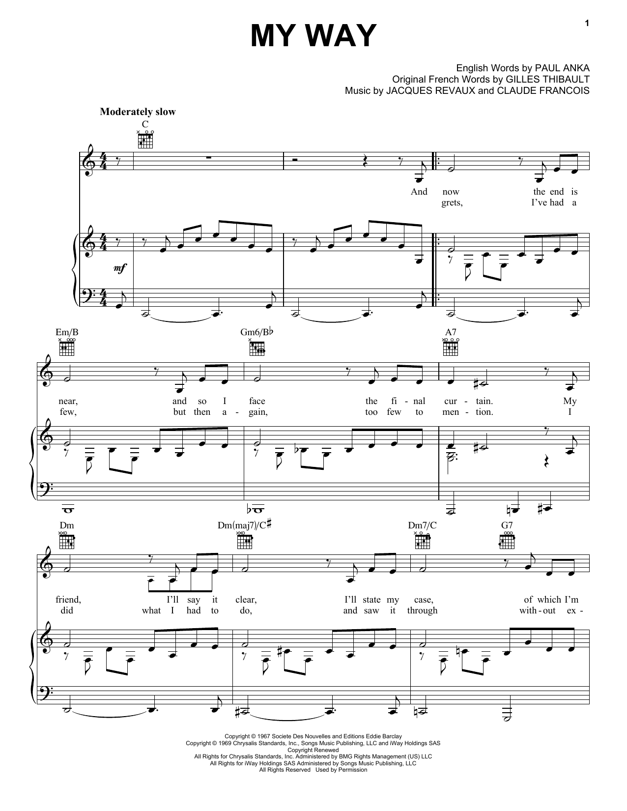 Elvis Presley My Way sheet music preview music notes and score for Piano including 5 page(s)
