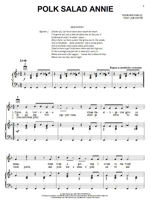 Elvis Presley Polk Salad Annie sheet music notes and chords