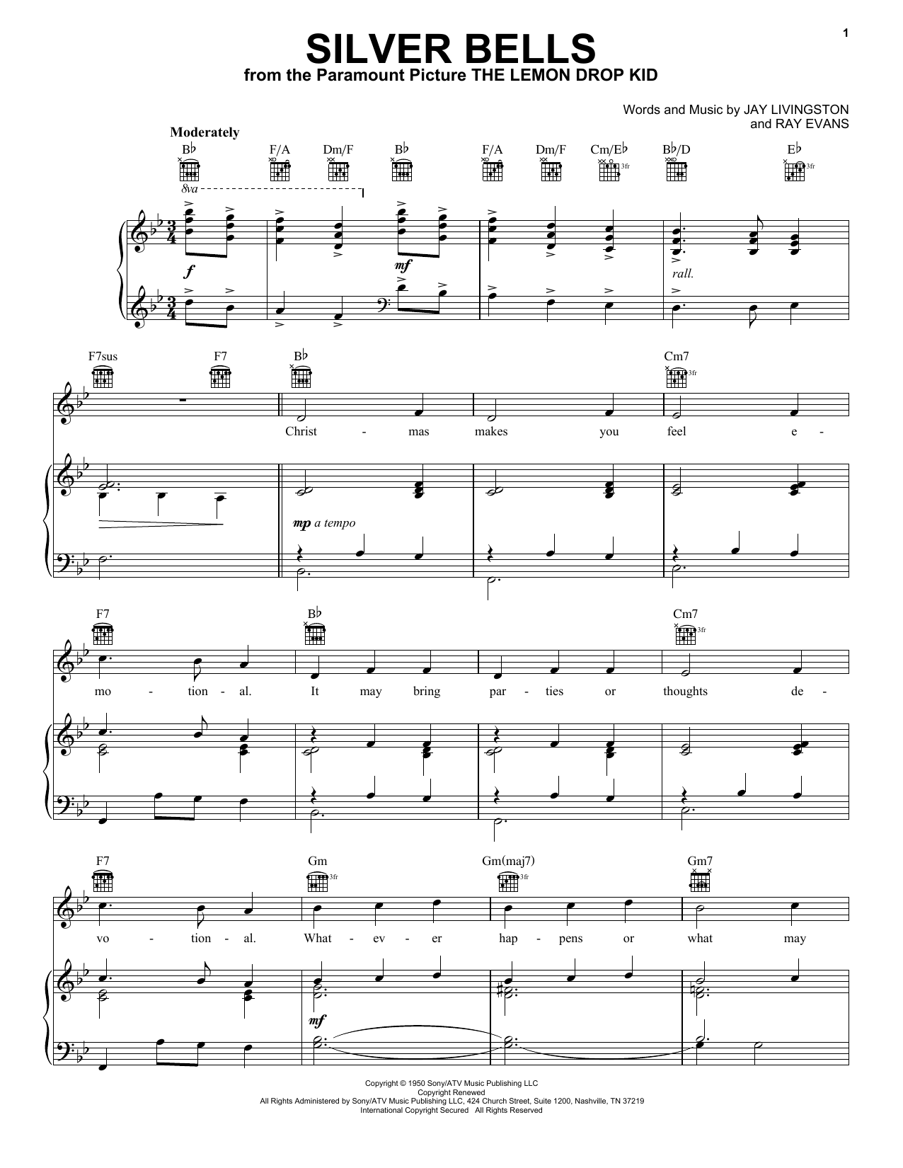 Elvis Presley Silver Bells sheet music preview music notes and score for Piano, Vocal & Guitar (Right-Hand Melody) including 4 page(s)