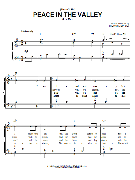 Elvis Presley There Will Be Peace In The Valley For Me sheet music preview music notes and score for Super Easy Piano including 2 page(s)