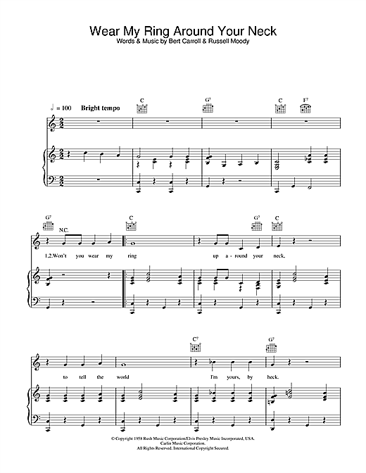 Elvis Presley Wear My Ring Around Your Neck sheet music notes and chords
