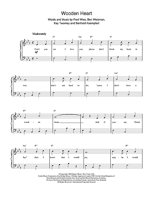 Elvis Presley Wooden Heart sheet music preview music notes and score for Piano, Vocal & Guitar (Right-Hand Melody) including 3 page(s)