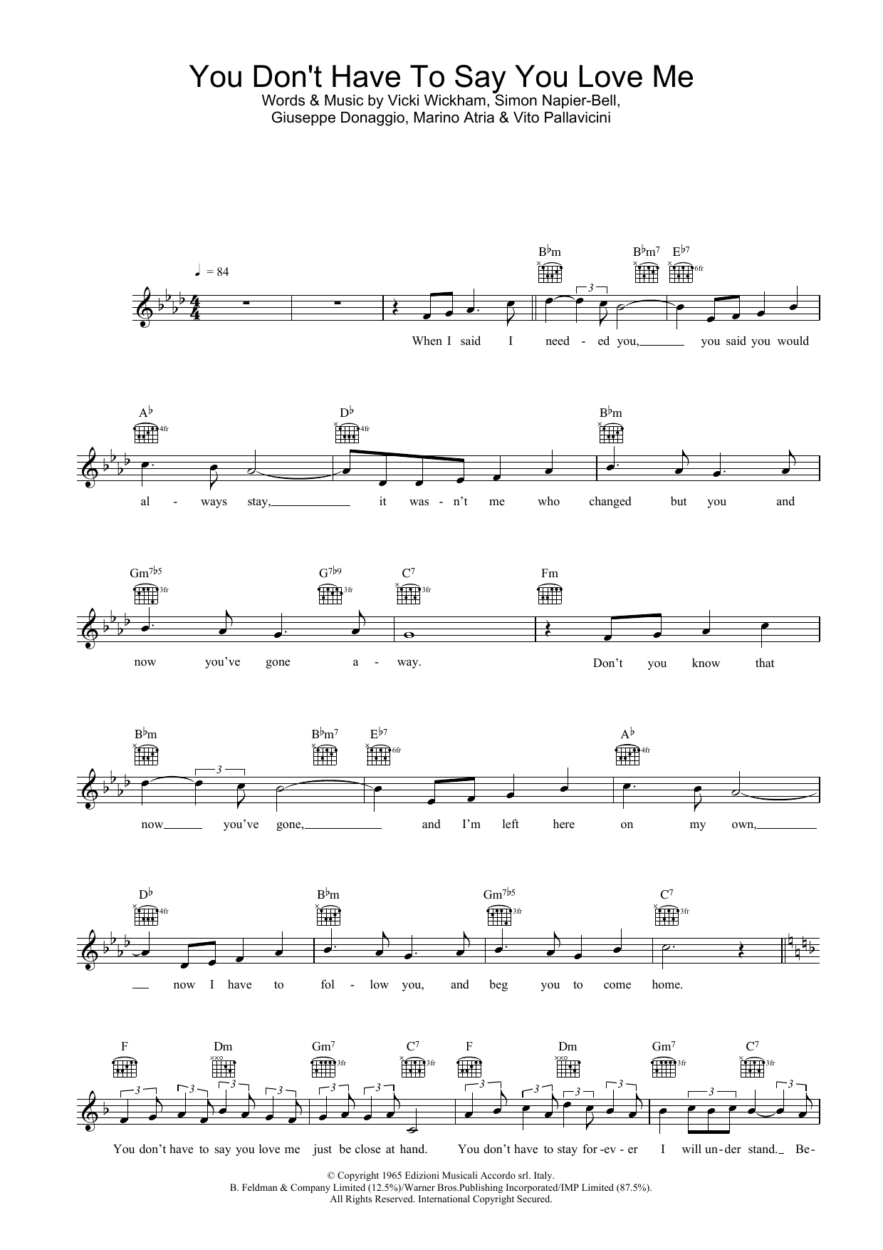Elvis Presley You Don't Have To Say You Love Me sheet music preview music notes and score for Piano, Vocal & Guitar (Right-Hand Melody) including 5 page(s)