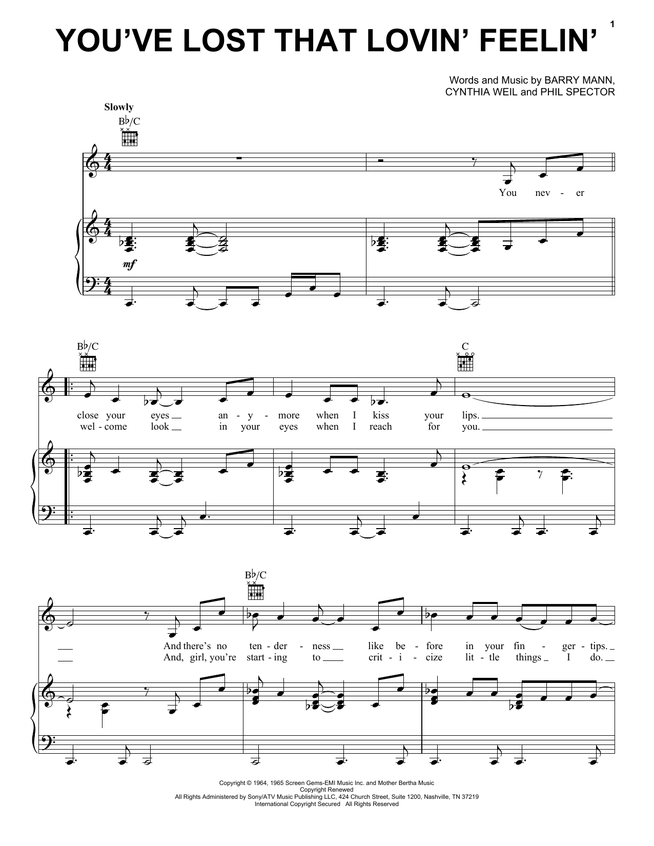 Elvis Presley You've Lost That Lovin' Feelin' sheet music notes and chords