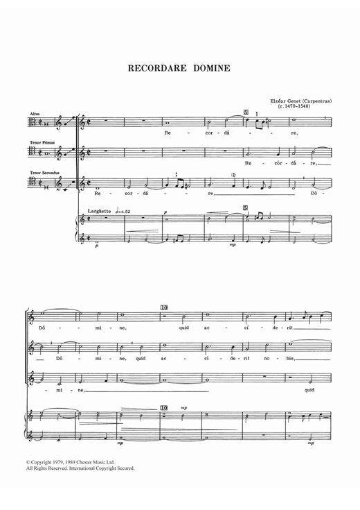 Download Elzear Genet 'Recordare Domine' Digital Sheet Music Notes & Chords and start playing in minutes