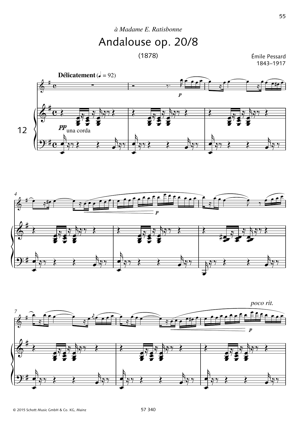 Emile Pessard Andalouse sheet music preview music notes and score for Woodwind Solo including 6 page(s)