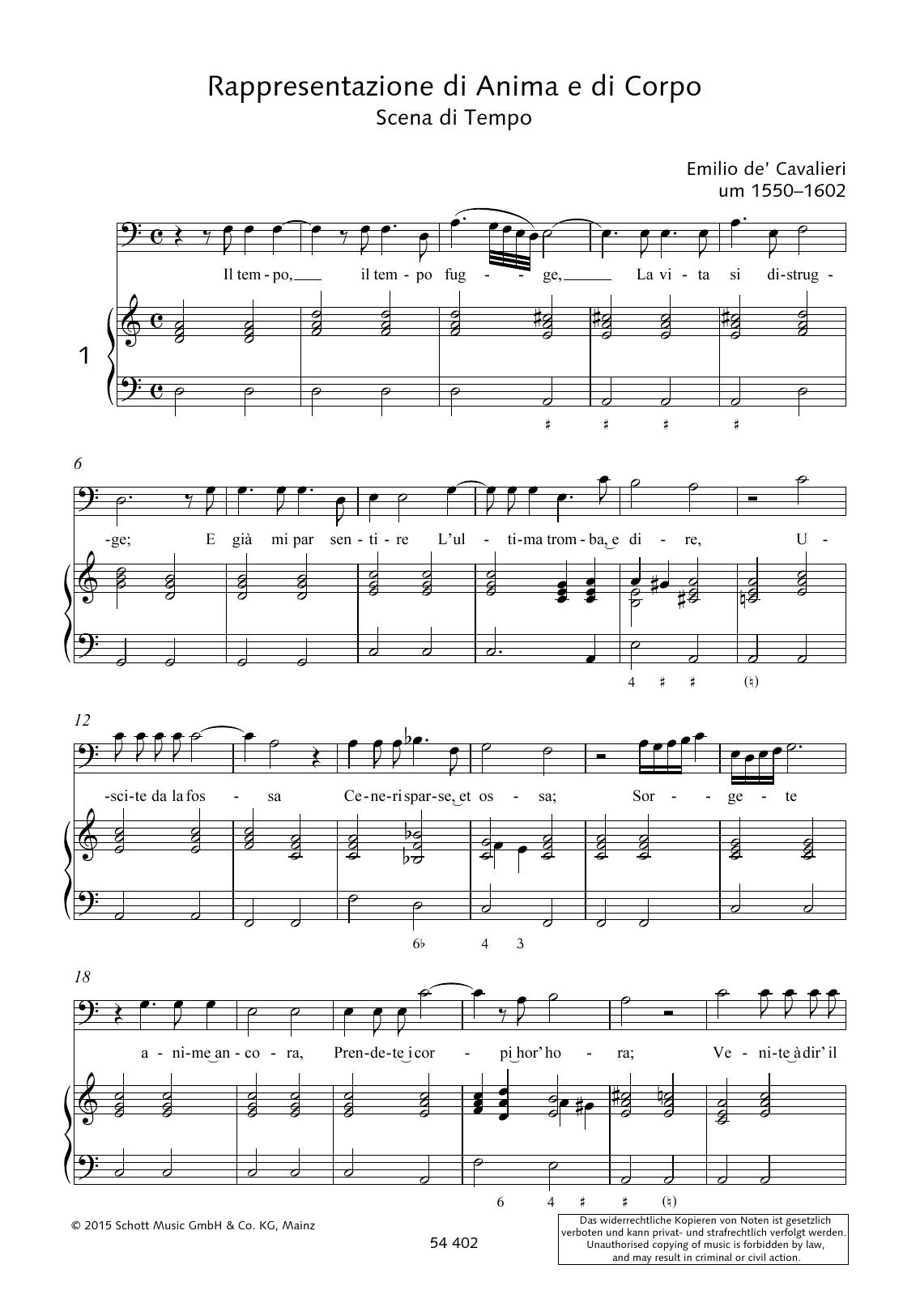 Emilio de Cavalieri Il tempo fugge, La vita si distrugge sheet music preview music notes and score for Piano & Vocal including 3 page(s)