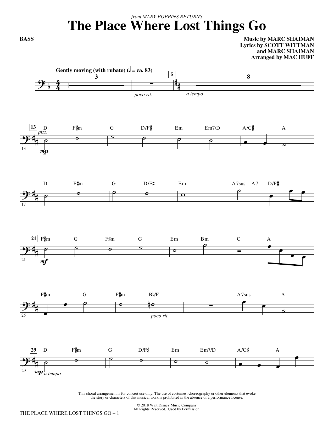 Emily Blunt The Place Where Lost Things Go (from Mary Poppins Returns) (arr. Mac Huff) - Bass sheet music preview music notes and score for Choir Instrumental Pak including 2 page(s)