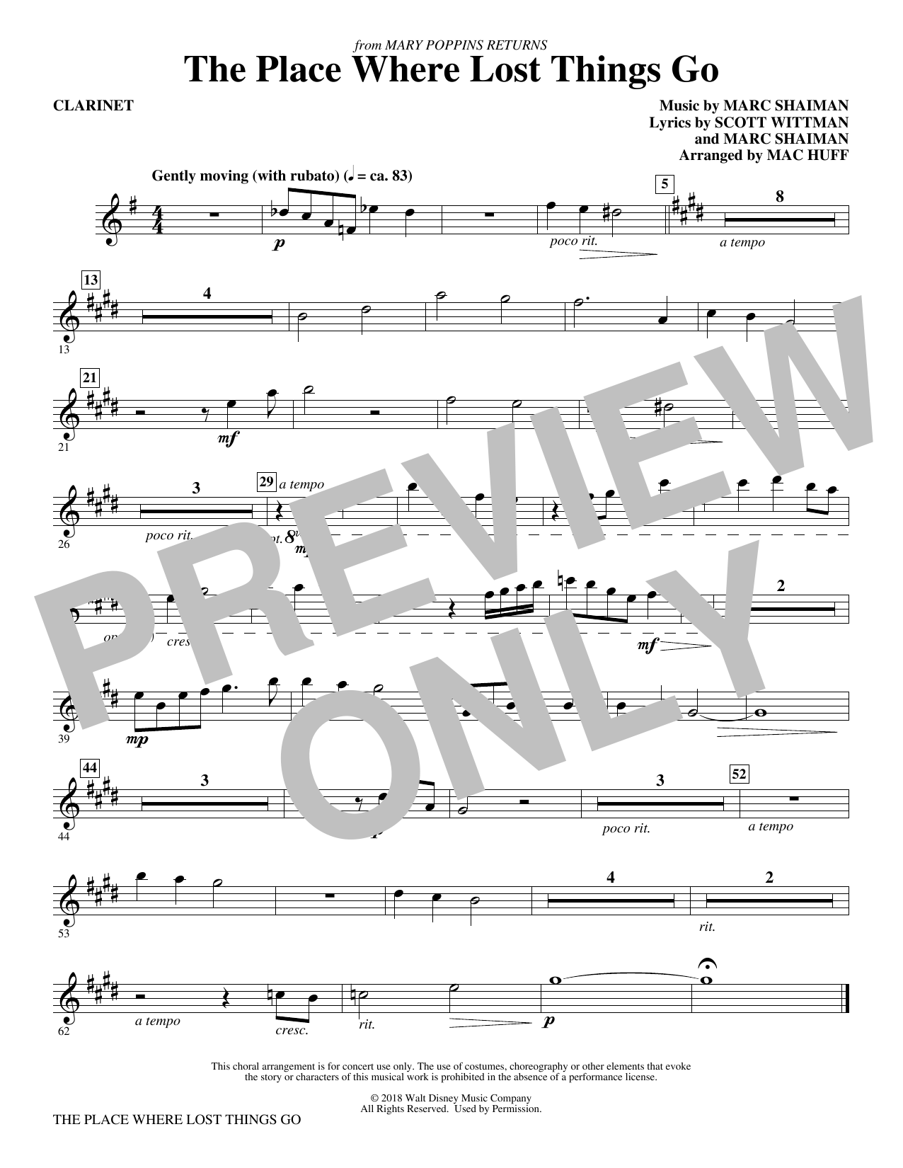 Emily Blunt The Place Where Lost Things Go (from Mary Poppins Returns) (arr. Mac Huff) - Clarinet sheet music preview music notes and score for Choir Instrumental Pak including 1 page(s)
