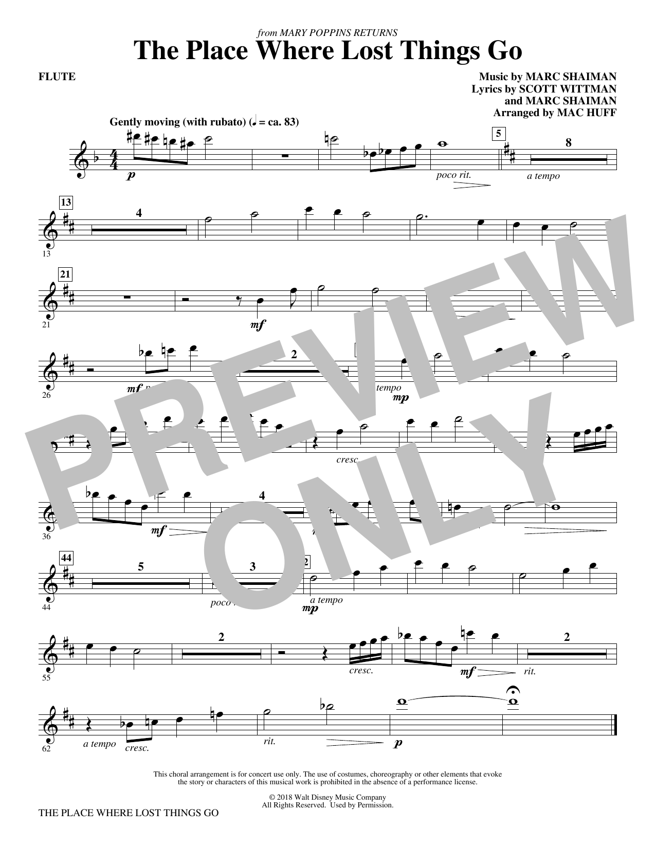 Emily Blunt The Place Where Lost Things Go (from Mary Poppins Returns) (arr. Mac Huff) - Flute sheet music preview music notes and score for Choir Instrumental Pak including 1 page(s)