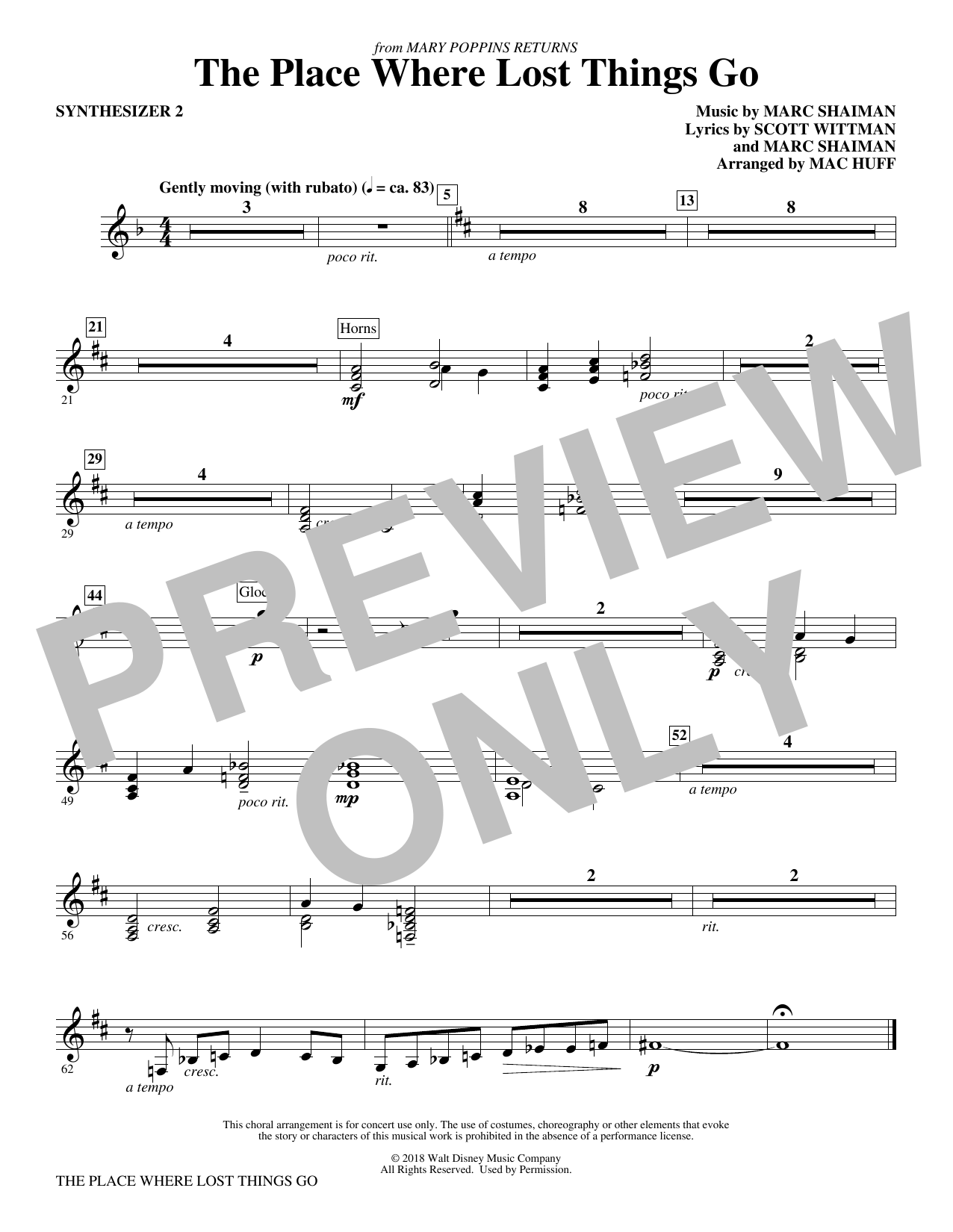 Emily Blunt The Place Where Lost Things Go (from Mary Poppins Returns) (arr. Mac Huff) - Synthesizer II sheet music preview music notes and score for Choir Instrumental Pak including 1 page(s)