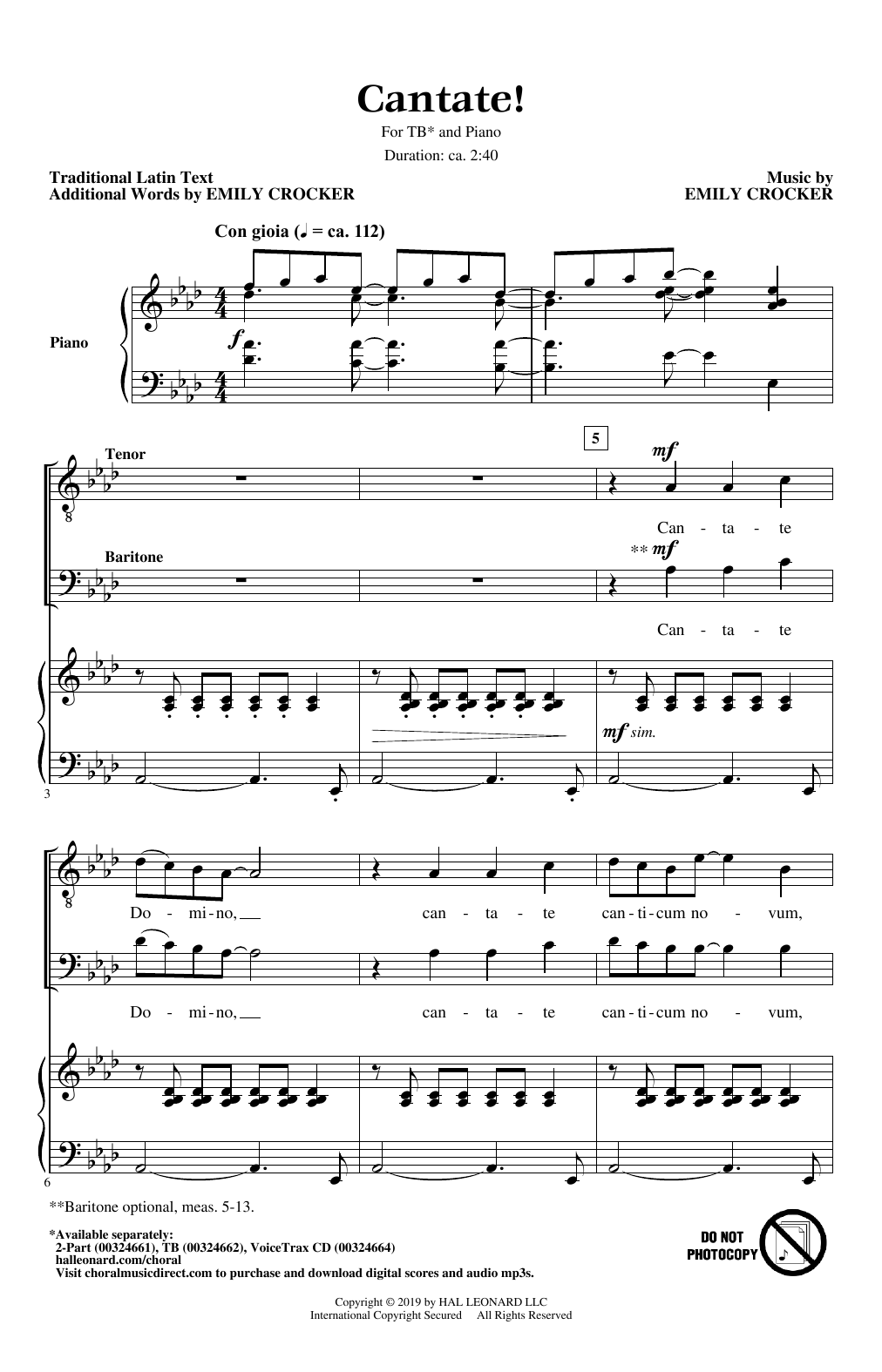 Download Emily Crocker 'Cantate!' Digital Sheet Music Notes & Chords and start playing in minutes