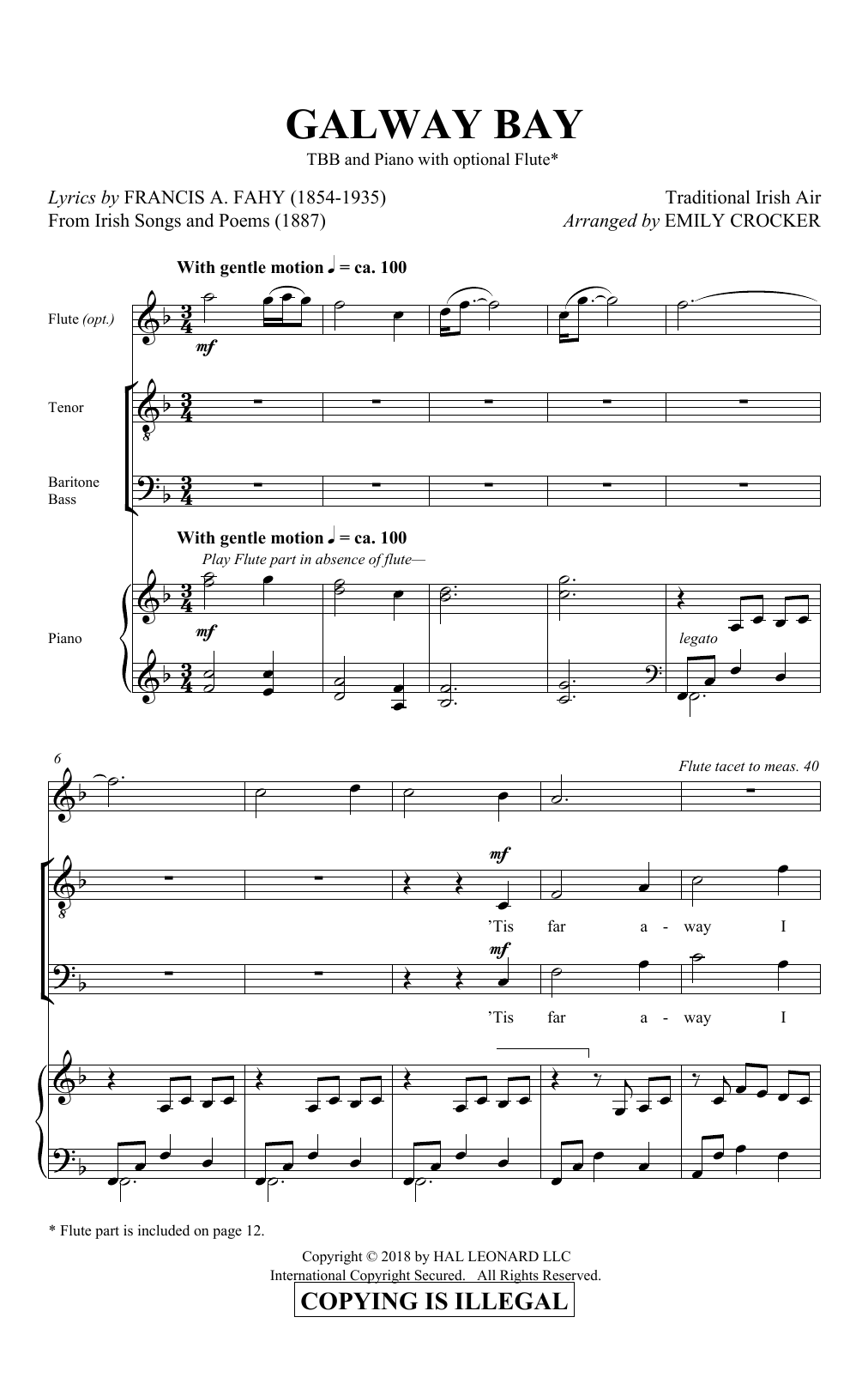 Download Emily Crocker 'Galway Bay' Digital Sheet Music Notes & Chords and start playing in minutes