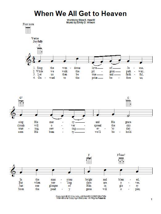 Emily D. Wilson When We All Get To Heaven sheet music preview music notes and score for Super Easy Piano including 1 page(s)