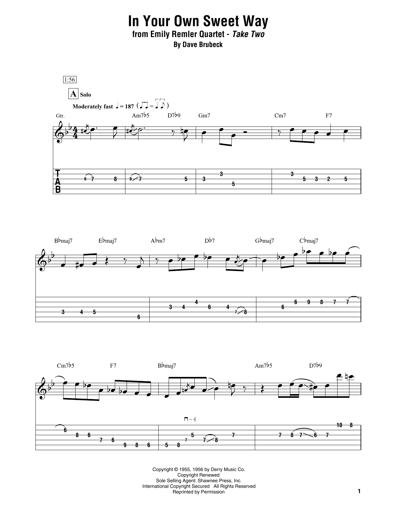 Download Emily Remler Quartet 'In Your Own Sweet Way' Digital Sheet Music Notes & Chords and start playing in minutes