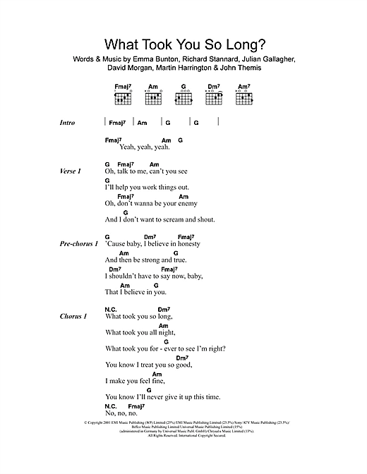 Emma Bunton What Took You So Long? sheet music notes and chords