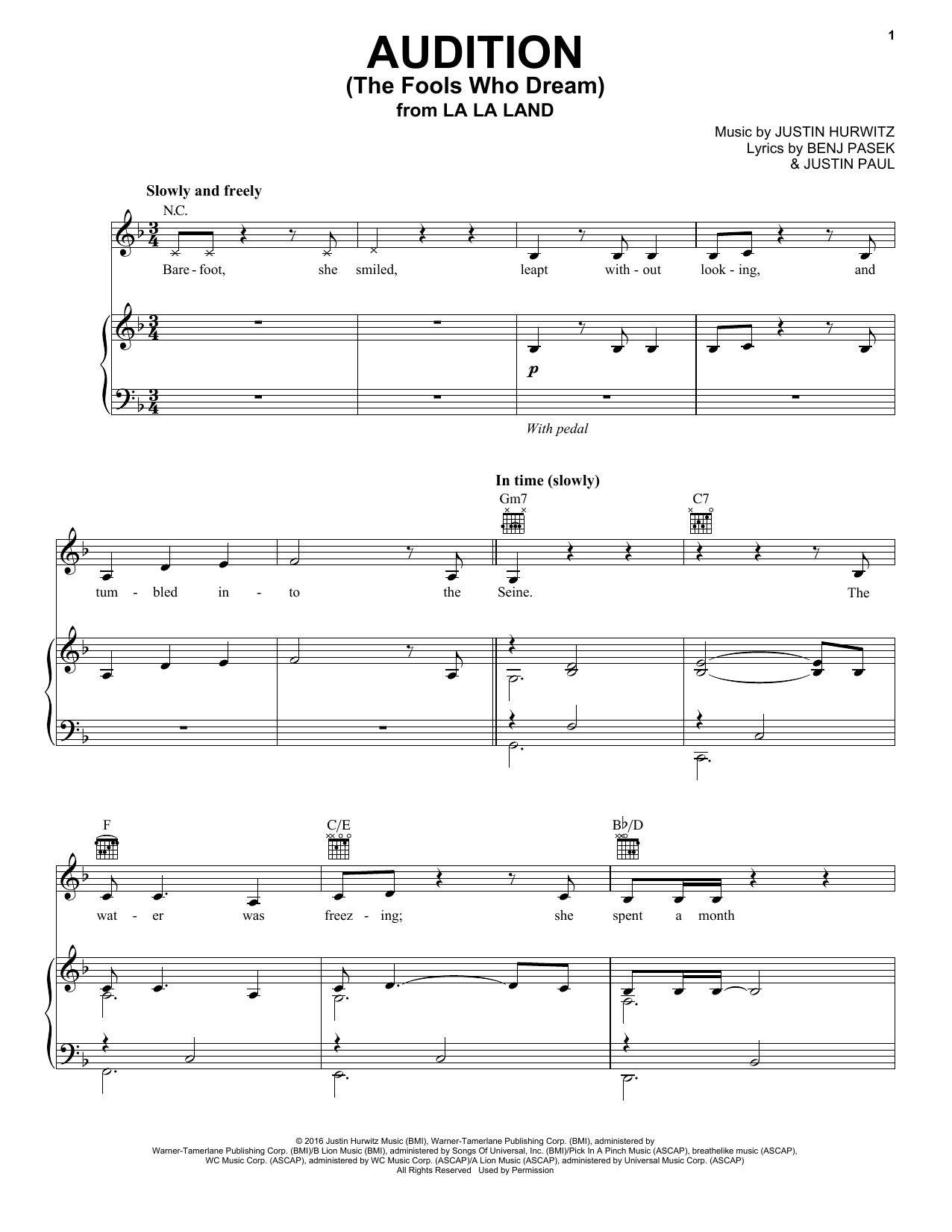 Download Emma Stone 'Audition (The Fools Who Dream) (from La La Land)' Digital Sheet Music Notes & Chords and start playing in minutes