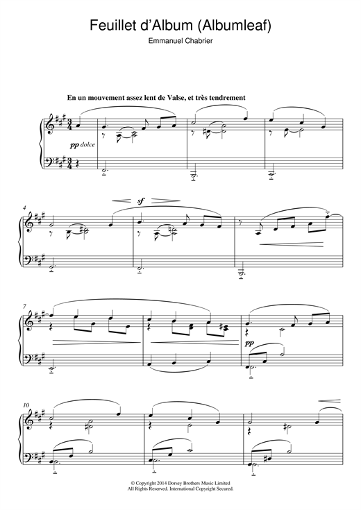 Download Emmanuel Chabrier 'Feuillet D'album' Digital Sheet Music Notes & Chords and start playing in minutes