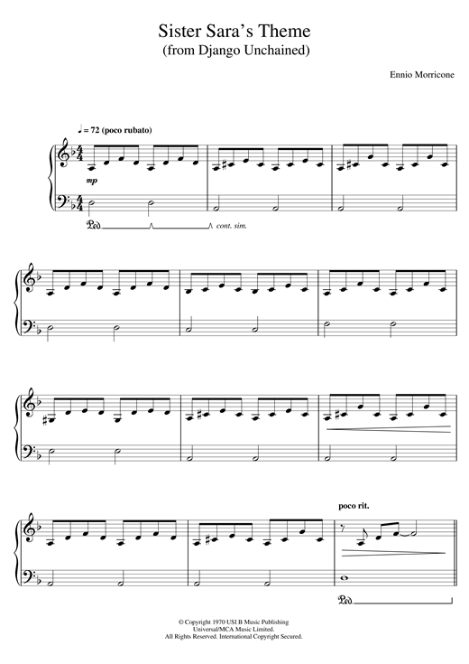 Download Ennio Morricone 'Sister Sara's Theme (Django Unchained)' Digital Sheet Music Notes & Chords and start playing in minutes