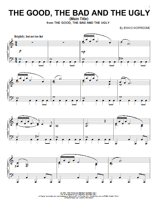 Download Ennio Morricone 'The Good, The Bad And The Ugly (Main Title)' Digital Sheet Music Notes & Chords and start playing in minutes
