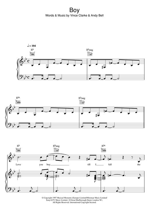 Erasure Boy sheet music notes and chords