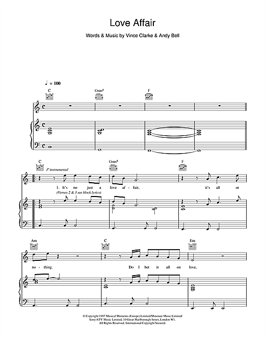 Erasure Love Affair sheet music notes and chords