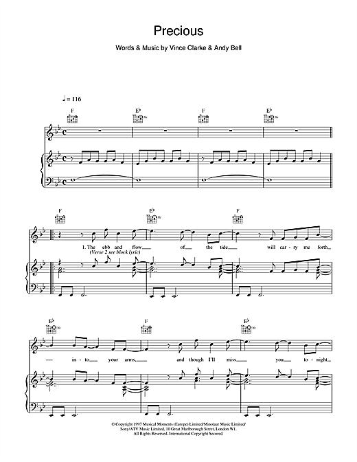 Erasure Precious sheet music notes and chords