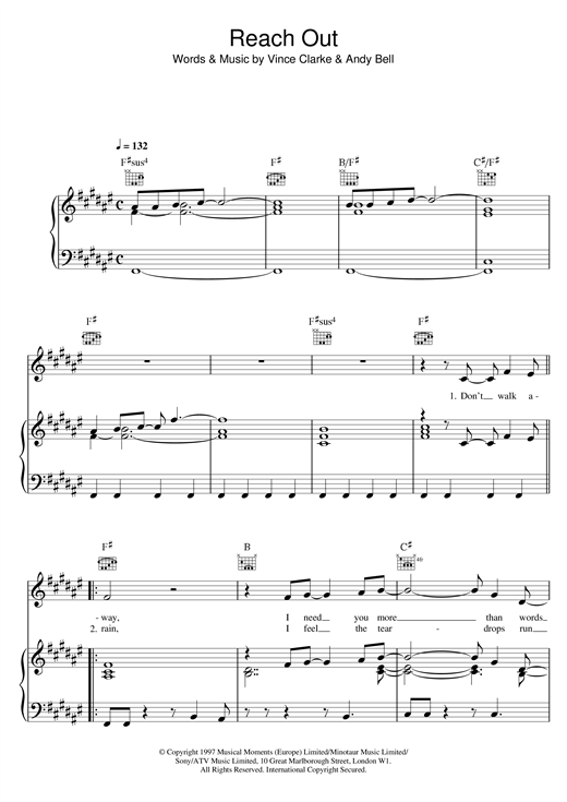 Erasure Reach Out sheet music notes and chords