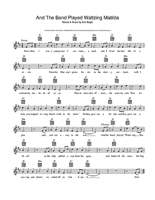 Eric Bogle And The Band Played Waltzing Matilda sheet music preview music notes and score for Melody Line, Lyrics & Chords including 2 page(s)