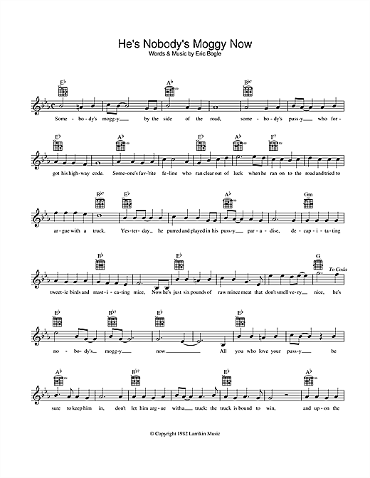 Eric Bogle He's Nobody's Moggy Now sheet music preview music notes and score for Melody Line, Lyrics & Chords including 2 page(s)