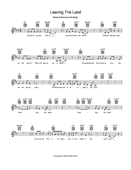 Eric Bogle Leaving The Land sheet music preview music notes and score for Melody Line, Lyrics & Chords including 2 page(s)