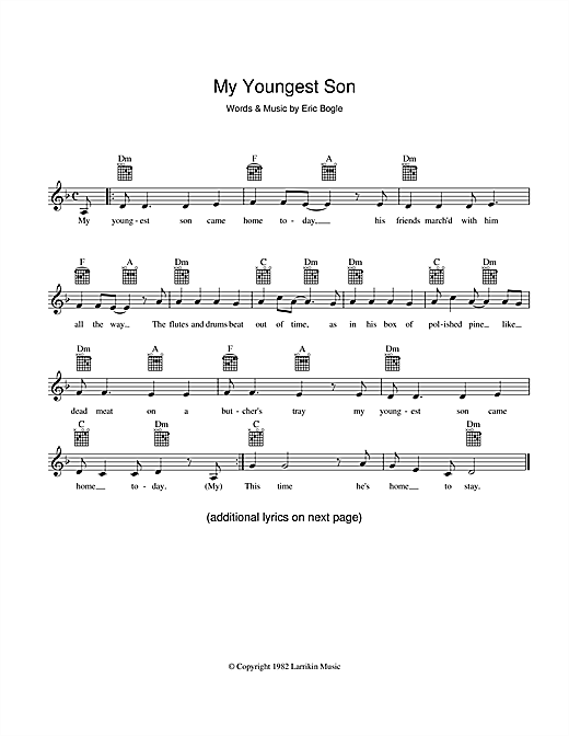 Eric Bogle My Youngest Son sheet music preview music notes and score for Melody Line, Lyrics & Chords including 2 page(s)