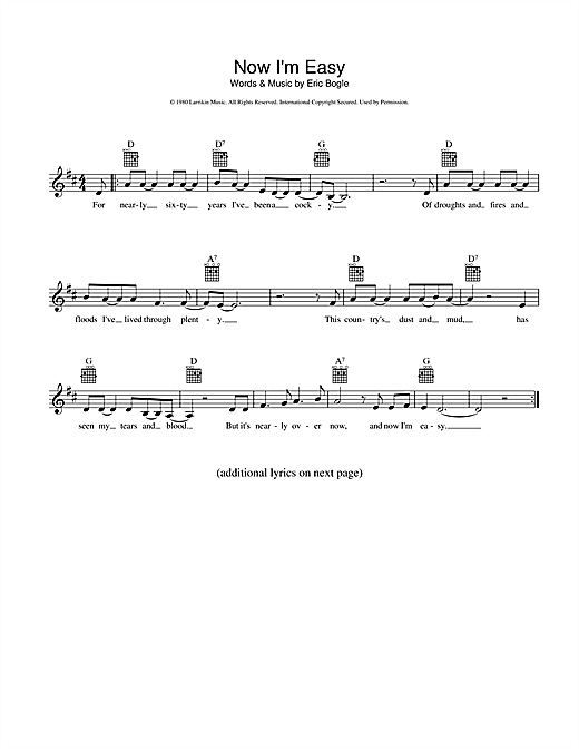 Eric Bogle Now I'm Easy sheet music preview music notes and score for Melody Line, Lyrics & Chords including 2 page(s)