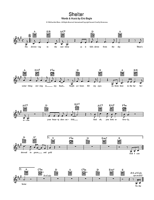 Eric Bogle Shelter sheet music preview music notes and score for Melody Line, Lyrics & Chords including 2 page(s)
