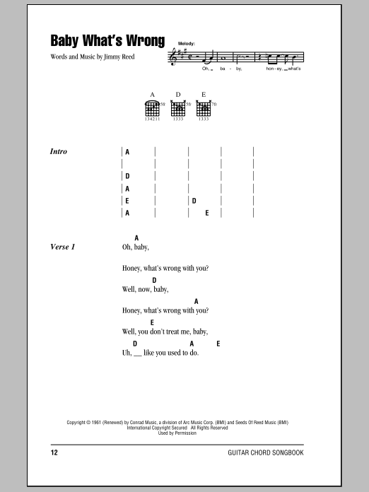 Eric Clapton Baby What's Wrong sheet music notes and chords