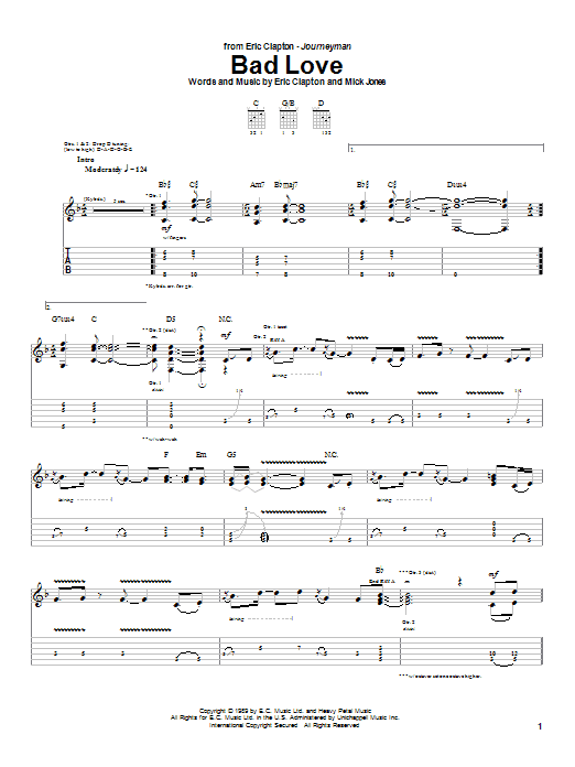 Eric Clapton Bad Love sheet music notes and chords