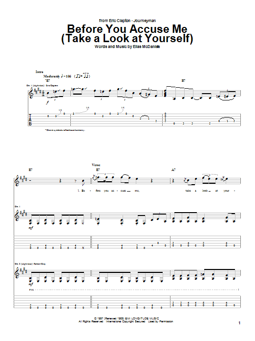 Eric Clapton Before You Accuse Me (Take A Look At Yourself) sheet music notes and chords