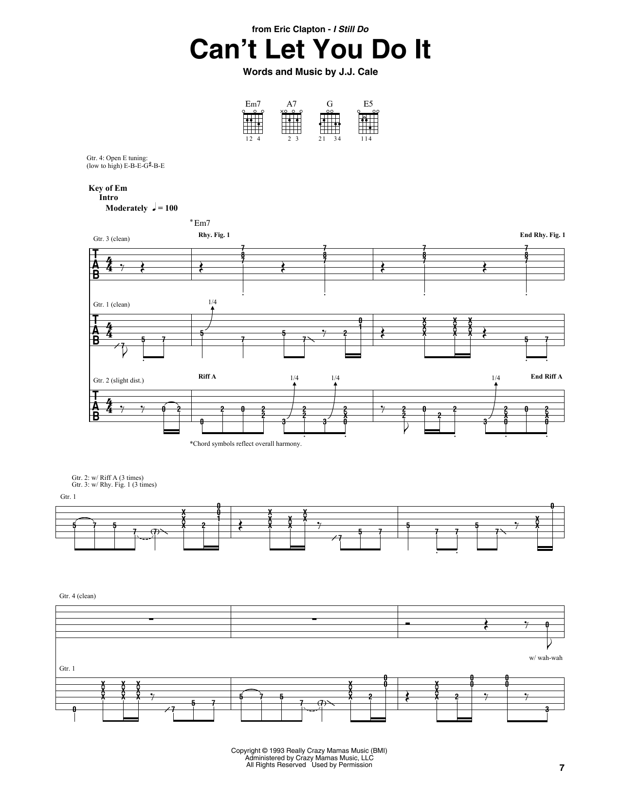 Download Eric Clapton 'Can't Let You Do It' Digital Sheet Music Notes & Chords and start playing in minutes
